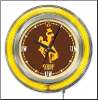 Wyoming Cowboys Neon Clock