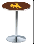 Wyoming Cowboys L214 Chrome Pub Table