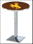 Wyoming Cowboys L217 Chrome Pub Table