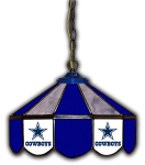 "Dallas Pub Light w/ Cowboys Logo - 14"" Stained Glass"