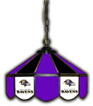"Baltimore Pub Light w/ Ravens Logo - 14"" Stained Glass"