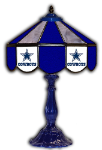"Dallas 21"" Table Lamp w/ Cowboys Logo - Stained Glass"