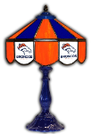 "Denver 21"" Table Lamp w/ Broncos Logo - Stained Glass"