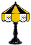 "Pittsburgh 21"" Table Lamp w/ Steelers Logo - Stained Glass"