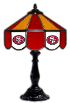 "San Francisco 21"" Table Lamp w/ 49ers Logo - Stained Glass"