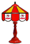 "Kansas City 21"" Table Lamp w/ Chiefs Logo - Stained Glass"