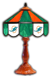 "Miami 21"" Table Lamp w/ Dolphins Logo - Stained Glass"