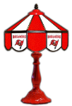 "Tampa Bay 21"" Table Lamp w/ Buccaneers Logo - Stained Glass"