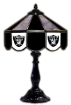 "Oakland 21"" Table Lamp w/ Raiders Logo - Stained Glass"