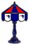 "New England 21"" Table Lamp w/ Patriots Logo - Stained Glass"