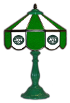 "New York 21"" Table Lamp w/ Jets Logo - Stained Glass"