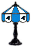 "Carolina 21"" Table Lamp w/ Panthers Logo - Stained Glass"