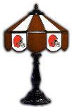 "Cleveland 21"" Table Lamp w/ Browns Logo - Stained Glass"