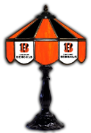 "Cincinnati 21"" Table Lamp w/ Bengals Logo - Stained Glass"