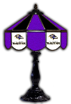"Baltimore 21"" Table Lamp w/ Ravens Logo - Stained Glass"
