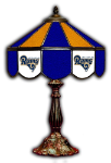 "Los Angeles 21"" Table Lamp w/ Rams Logo - Stained Glass"