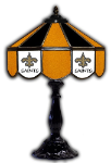 "New Orleans 21"" Table Lamp w/ Saints Logo - Stained Glass"