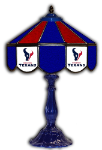 "Houston 21"" Table Lamp w/ Texans Logo - Stained Glass"