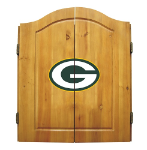 Green Bay Dart Board w/ Packers Logo - Solid Pine Cabinet