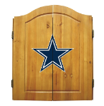 Dallas Dart Board w/ Cowboys Logo - Solid Pine Cabinet