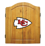Kansas City Dart Board w/ Chiefs Logo - Solid Pine Cabinet
