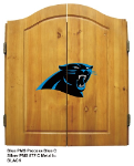 Carolina Dart Board w/ Panthers Logo - Solid Pine Cabinet