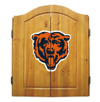 Chicago Dart Board w/ Bears Logo - Solid Pine Cabinet