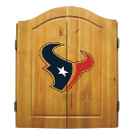 Houston Dart Board w/ Texans Logo - Solid Pine Cabinet