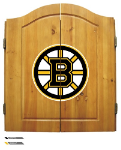 Boston Dart Board w/ Bruins Logo - Solid Pine Cabinet