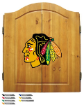 Chicago Dart Board w/ Blackhawks Logo - Solid Pine Cabinet