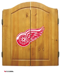 Detroit Dart Board w/ Red Wings Logo - Solid Pine Cabinet