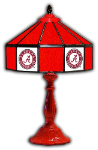 "Alabama 21"" Table Lamp w/ Crimson Tide Logo - Stained Glass"