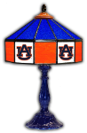 "Auburn 21"" Table Lamp w/ Tigers Logo - Stained Glass"