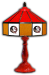 "Florida State 21"" Table Lamp w/ Seminoles Logo - Stained Glass"
