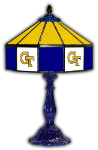 "Georgia Tech 21"" Table Lamp w/ Yellow Jackets Logo - Stained Glass"