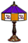 "LSU 21"" Table Lamp w/ Tigers Logo - Stained Glass"
