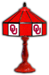 "Oklahoma 21"" Table Lamp w/ Sooners Logo - Stained Glass"