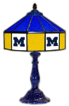 "Michigan 21"" Table Lamp w/ Wolverines Logo - Stained Glass"