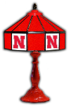 "Nebraska 21"" Table Lamp w/ Cornhuskers Logo - Stained Glass"