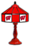 "Wisconsin 21"" Table Lamp w/ Badgers Logo - Stained Glass"