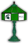 "Michigan State 21"" Table Lamp w/ Spartans Logo - Stained Glass"