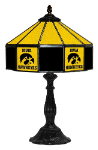 "Iowa 21"" Table Lamp w/ Hawkeyes Logo - Stained Glass"