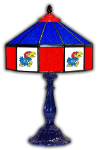 "Kansas 21"" Table Lamp w/ Jayhawks Logo - Stained Glass"