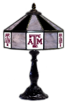 "Texas A&M 21"" Table Lamp w/ Aggies Logo - Stained Glass"
