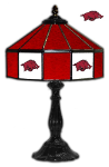 "Arkansas 21"" Table Lamp w/ Razorbacks Logo - Stained Glass"