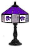 "Kansas State 21"" Table Lamp w/ Wildcats Logo - Stained Glass"