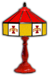 "Iowa State 21"" Table Lamp w/ Cyclones Logo - Stained Glass"
