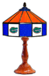"Florida 21"" Table Lamp w/ Gators Logo - Stained Glass"