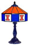 "Illinois 21"" Table Lamp w/ Fighting Illini Logo - Stained Glass"