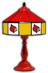 "Louisville 21"" Table Lamp w/ Cardinals Logo - Stained Glass"